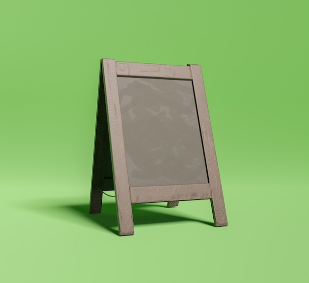 Mockup van klein restaurantbord op groene ondergrond