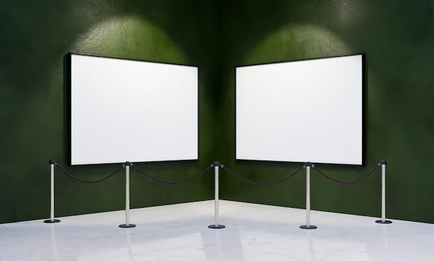 Mockup van lege kaders in de hoek van een museum met veiligheidsbarrière