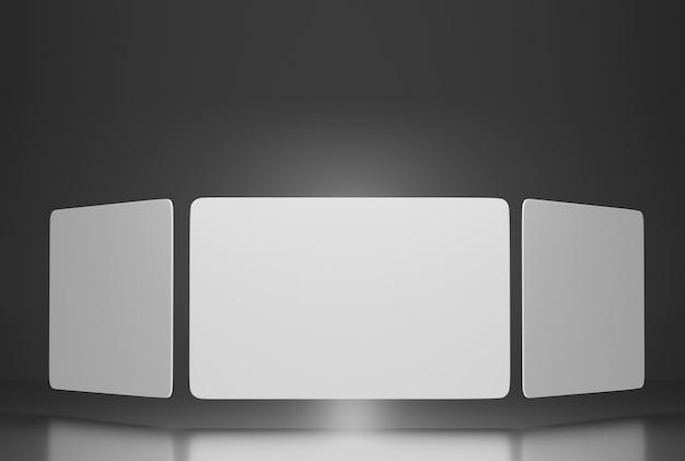 Mockup van papieren visitekaartjes verticaal gerangschikt op een grijze achtergrond. carrousel van visitekaartjes. 3d weergegeven.