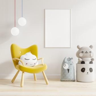 Mockup van poster aan de muur in de kinderkamer met gele fauteuil.3d-rendering