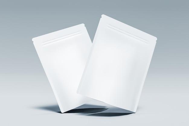 Mockup van twee zakken met supplementen die in de lucht hangen