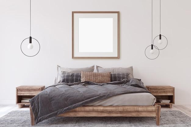 Mockup voor interieur en frame. houten slaapkamer. 3d render.