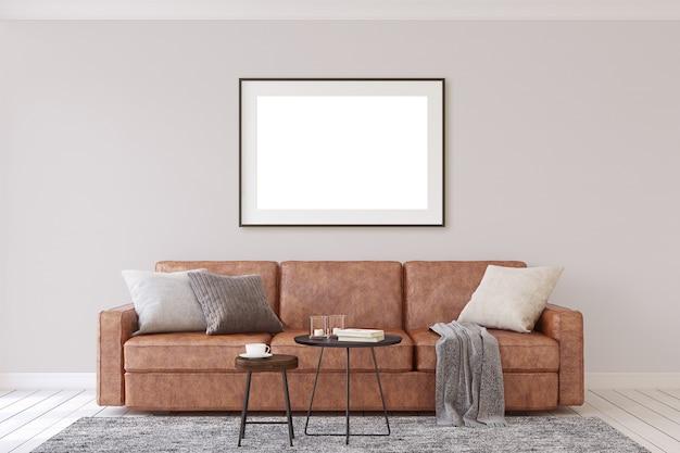 Mockup voor interieur en frame. moderne woonkamer. 3d-weergave.