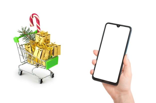 Mockup voor online winkelen voor kerstmis.