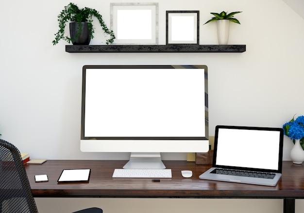 Mockup voor responsieve apparaten en fotolijsten