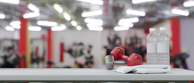 Mockup vrije ruimte voor uw productweergave in fitness gym achtergrond 3d-rendering