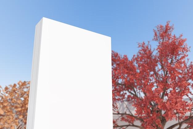 Mockup witte lege reclame billboard poster sjabloonweergave op een blauwe hemelachtergrond. 3d-rendering