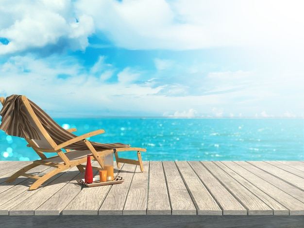 Mockup zomer wazig 3d render houten tafel kijkt uit zee landschap stoel