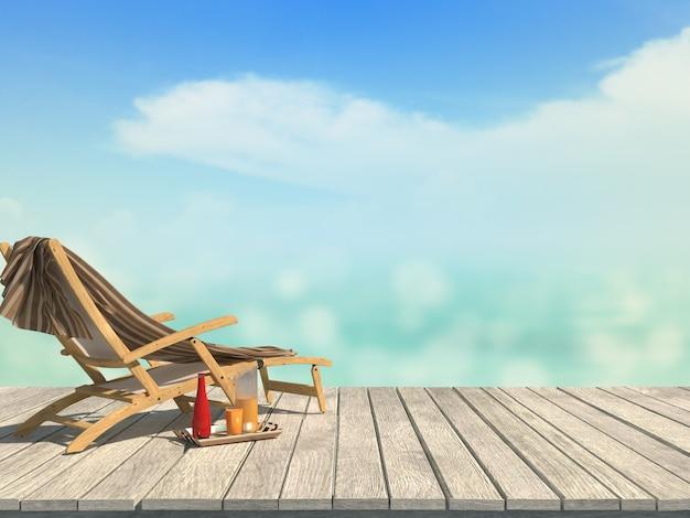 Mockup zomer wazig 3d render houten tafel kijkt uit zee landschap strandstoel