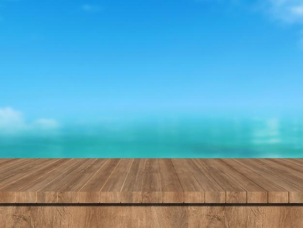 Mockup zomer wazig 3d render houten tafel met uitzicht op zee landschap