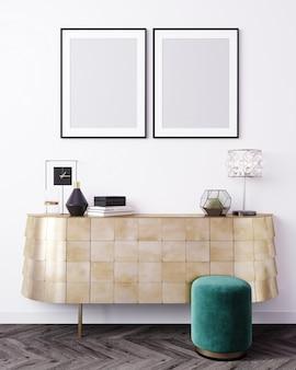 Mockupaffichekader op moderne binnenlandse achtergrond, skandinavische stijl, het 3d teruggeven, 3d illustratie