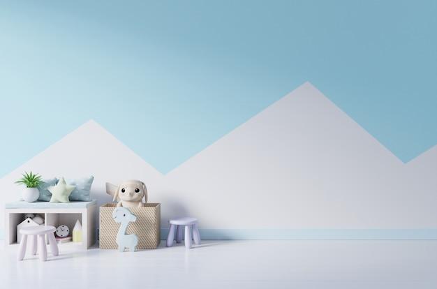 Mockupmuur in de kinderkamer op de achtergrond van muurpastelkleuren.