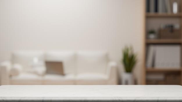 Mockupruimte voor montage op tafelblad over vage moderne minimalistische woonkamer 3d-rendering