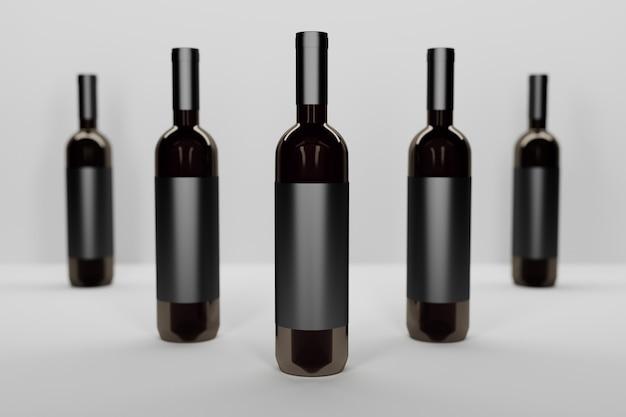 Mockupsjabloon met een rij van vijf flessen van donkere glazen wijnstokken op wit