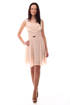 Mode elegante vrouw met roze jurk