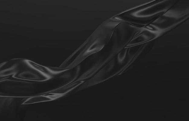 Mode glad elegant vliegend zwart satijnen doek. abstracte 3d monochrome achtergrond.