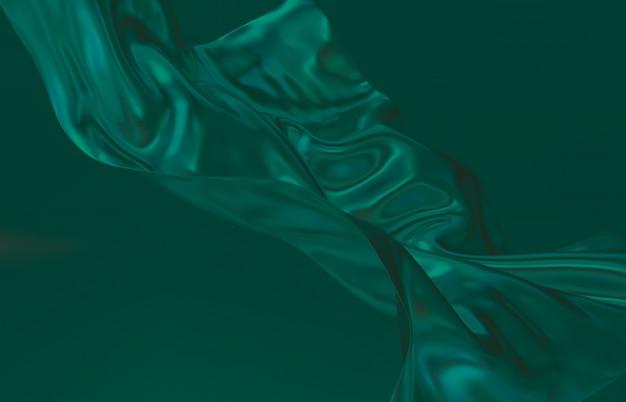 Mode glad elegant vliegende groene satijnen doek. abstracte 3d monochrome achtergrond.