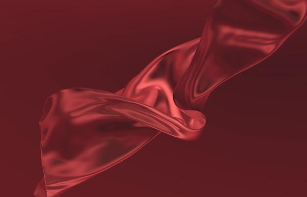 Mode glad elegant vliegende rode satijnen doek. abstracte 3d monochrome achtergrond.