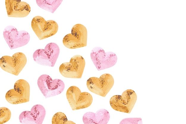 Mode pailletten hart. valentijnsdag achtergrond