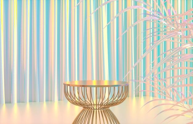 Mode schoonheid luxe podium achtergrond met holografische iriserende textuur. 3d render.