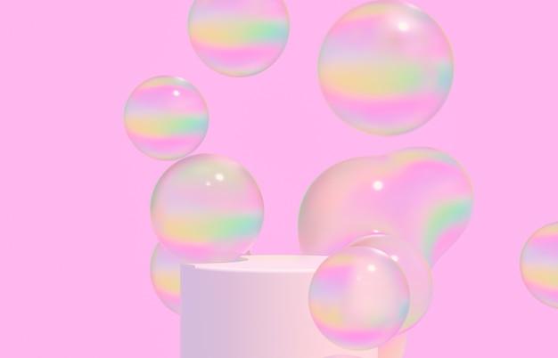 Mode-schoonheidsachtergrond met productstandaard en glanzende waterbellen