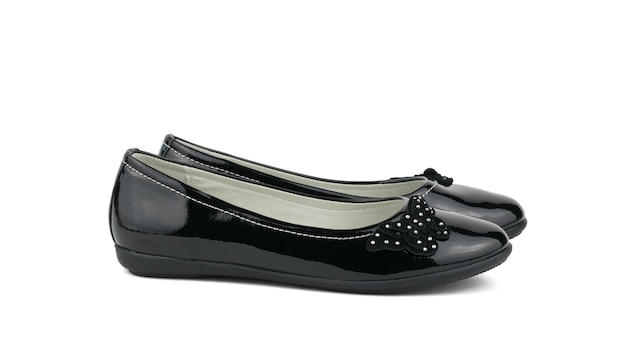 Mode vrouwen lakleder schoenen geïsoleerd op een witte achtergrond. het concept van modieuze schoenen.