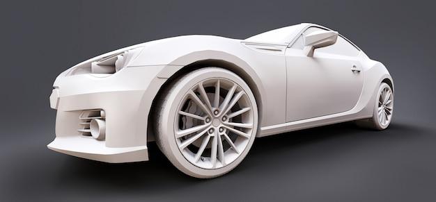 Model compacte sportwagen van mat kunststof. stadsauto coupé. jeugd sportwagen. 3d illustratie.
