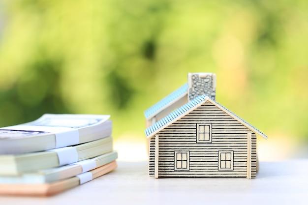 Model huis en bankbiljet op natuurlijke groen