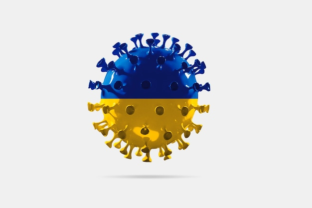 Model van covid-19 coronavirus gekleurd in de nationale vlag van oekraïne, concept van pandemische verspreiding, geneeskunde en gezondheidszorg. wereldwijde epidemie met groei, quarantaine en isolatie, bescherming.