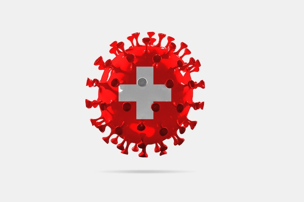 Model van covid-19 coronavirus gekleurd in de nationale vlag van zwitserland, concept van pandemische verspreiding, geneeskunde en gezondheidszorg. wereldwijde epidemie met groei, quarantaine en isolatie, bescherming.