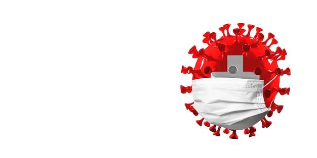 Model van covid19-coronavirus gekleurd in nationale russische vlag in gezichtsmaskerconcept