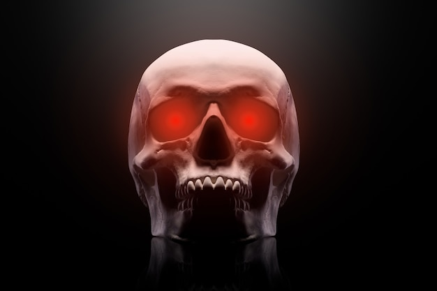 Model van de menselijke schedel met rode ogen geïsoleerd