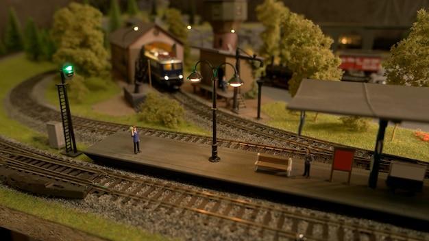 Model van retro treinstation.