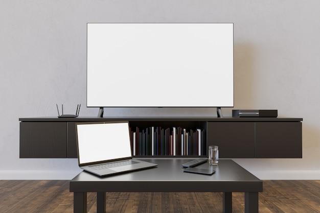 Model van televisie en laptop in een woonkamer met boeken en een tafeltje. 3d-weergave