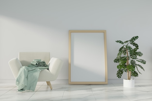 Modelaffiche op witte muurachtergrond. 3d-rendering.