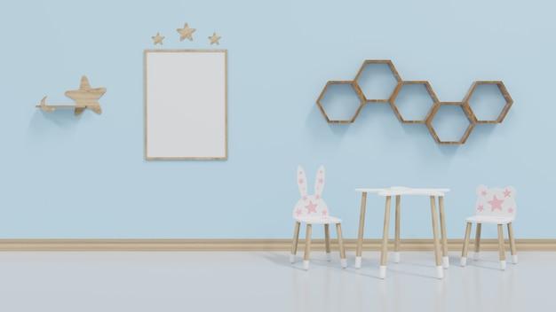 Modelkamer voor kinderen met fotolijstjes 1 kaart aan de blauwe muur met een berenstoel en een konijnenstoel.