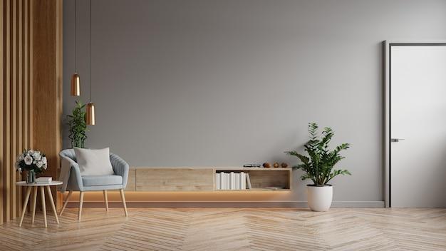 Modelkast in moderne woonkamer met blauwe fauteuil en plant op donkergrijze muurachtergrond, 3d-rendering