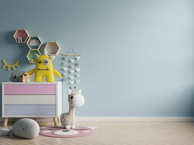 Modelmuur in de kinderruimte op achtergrond van muur de donkerblauwe kleuren.