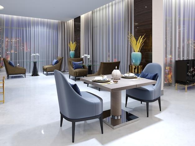 Modern avondrestaurant in hotel met diverse meubels en het verborgen plafondlicht en patronen van een mozaïek op witte zuilen. 3d-rendering.