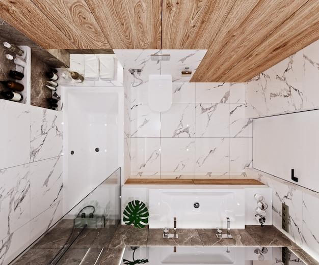 Modern badkamerontwerp met tegels, marmer en hout