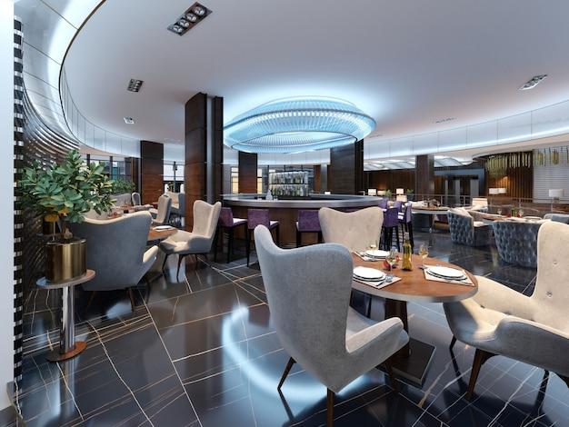 Modern bar-restaurant in een luxe moderne stijl met elegante meubels en verlichting. 3d-rendering