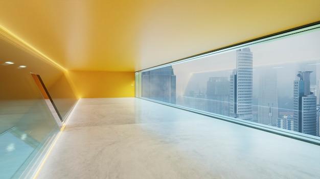 Modern binnenaanzicht van oranje led-verlichtingsarmaturen lus glazen wandgevel met panoramische ramen en uitzicht op de stad