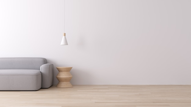 Modern binnenland van het leven met grijze stoffenbank op houten vloer en witte muur, minimale stijl, het 3d teruggeven