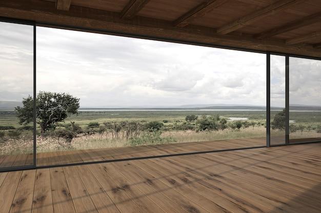 Modern buitenterras met schuifpui en uitzicht op de natuur achtergrond 3d render illustratie