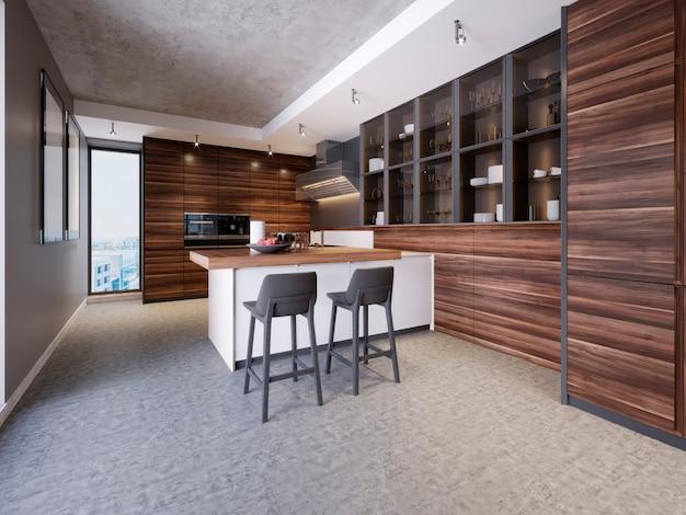 Modern design keukeninterieur in eigentijdse stijl met technologische meubels en keukenapparatuur. 3d-rendering.
