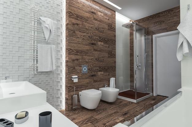 Modern design van een badkamer met douche