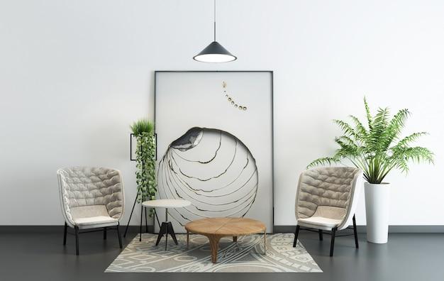 Modern eenvoudig binnen groot frame woonkamerhuis