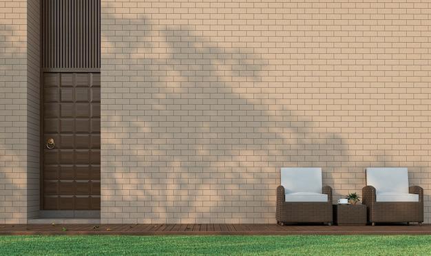 Modern eigentijds gebouw terras met bakstenen muur 3d renderingericht met rotan stoelen