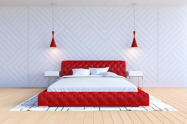 Modern eigentijds slaapkamerbinnenland in witte en rode kleur, het 3d teruggeven