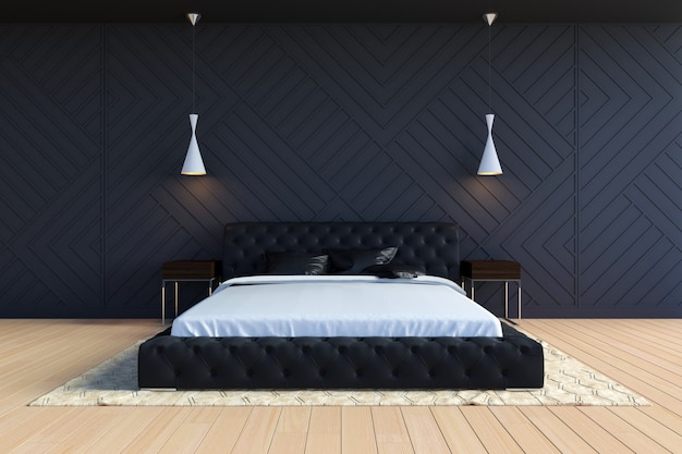 Modern eigentijds slaapkamerbinnenland in zwart-witte kleur, het 3d teruggeven